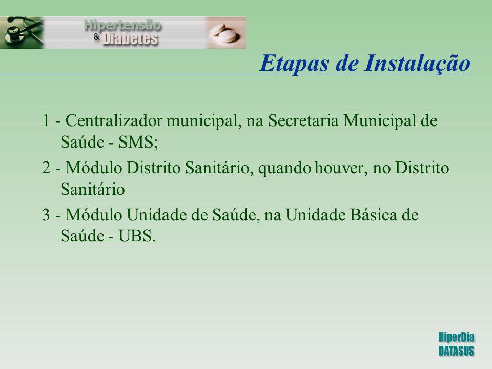 Etapas de Instalação 1 - Centralizador municipal, na Secretaria Municipal de Saúde - SMS; 2 - Módulo Distrito Sanitário, quando houver, no Distrito Sa