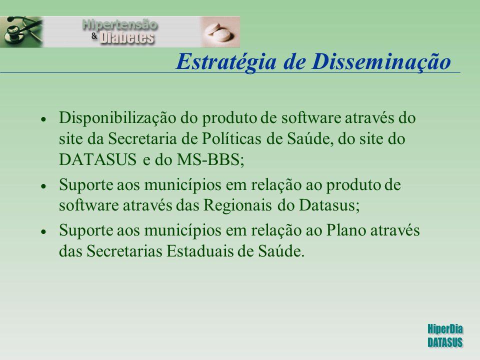 Estratégia de Disseminação  Disponibilização do produto de software através do site da Secretaria de Políticas de Saúde, do site do DATASUS e do MS-B