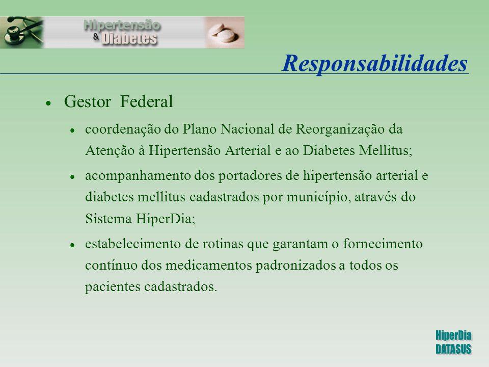 Responsabilidades  Gestor Federal  coordenação do Plano Nacional de Reorganização da Atenção à Hipertensão Arterial e ao Diabetes Mellitus;  acompa