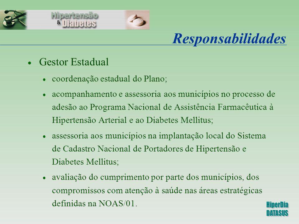 Responsabilidades  Gestor Estadual  coordenação estadual do Plano;  acompanhamento e assessoria aos municípios no processo de adesão ao Programa Na