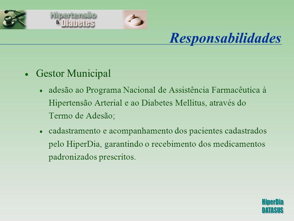Responsabilidades  Gestor Municipal  adesão ao Programa Nacional de Assistência Farmacêutica à Hipertensão Arterial e ao Diabetes Mellitus, através