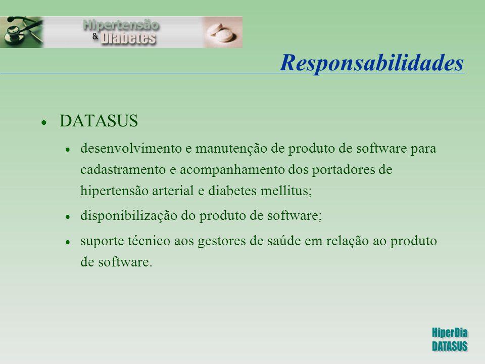 Responsabilidades  DATASUS  desenvolvimento e manutenção de produto de software para cadastramento e acompanhamento dos portadores de hipertensão ar