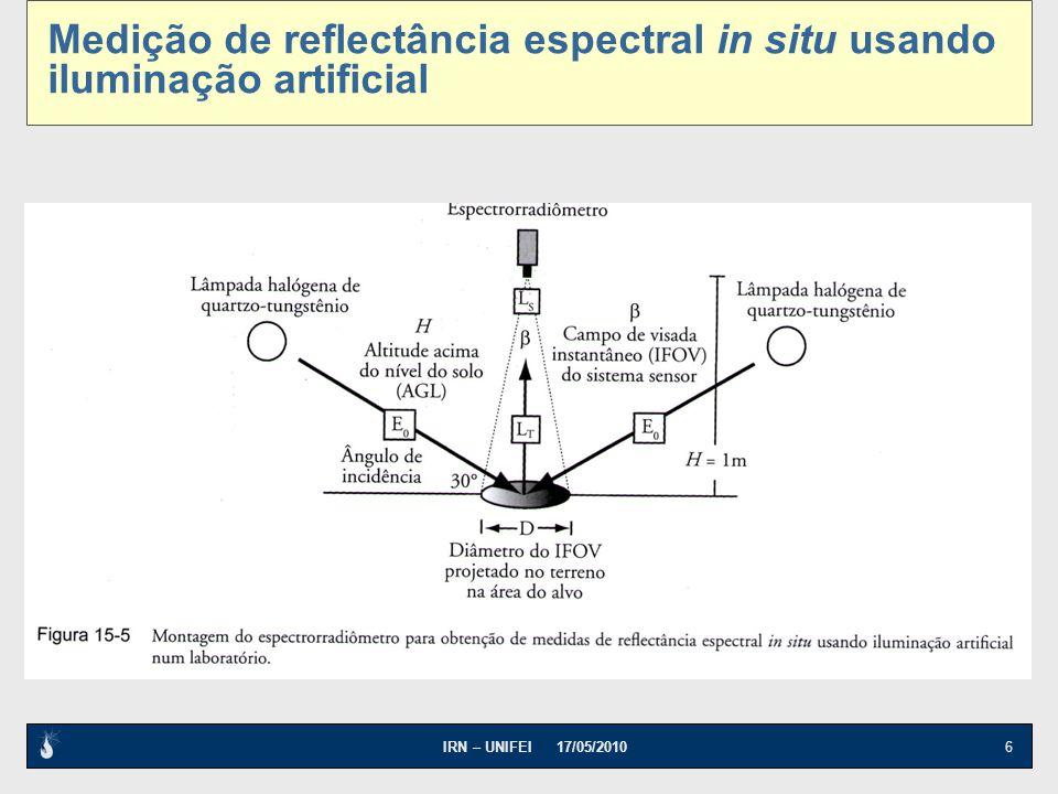 IRN – UNIFEI 17/05/2010 6 Medição de reflectância espectral in situ usando iluminação artificial