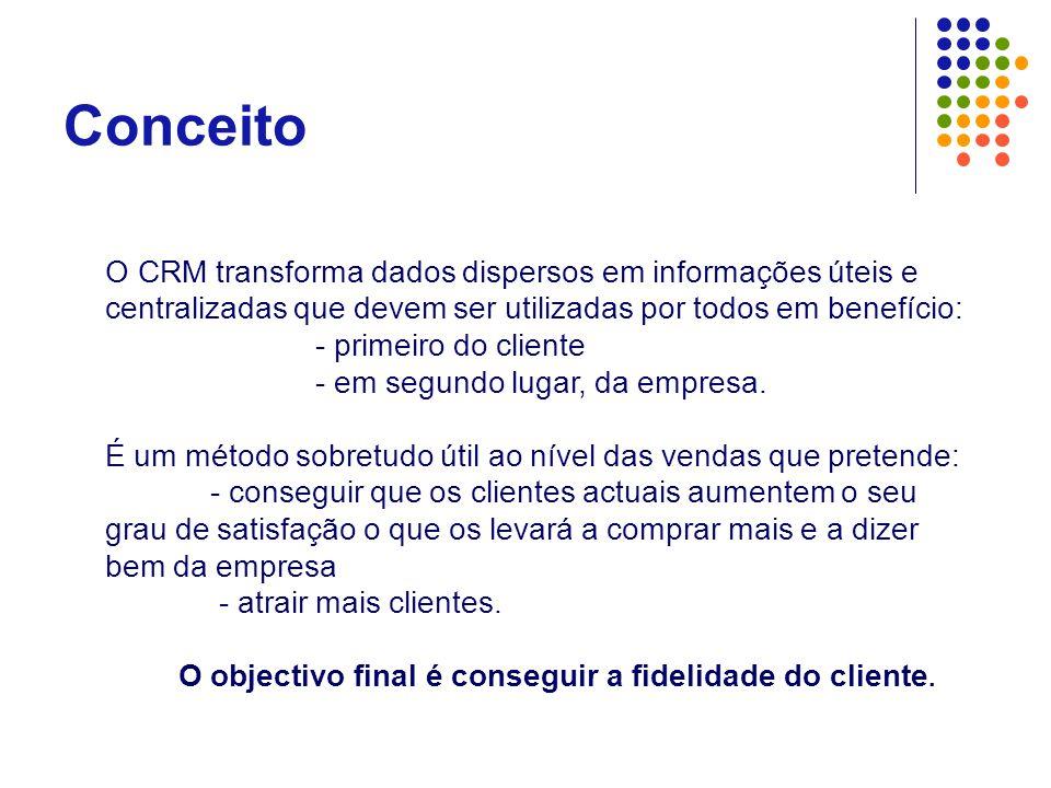 Conceito O CRM transforma dados dispersos em informações úteis e centralizadas que devem ser utilizadas por todos em benefício: - primeiro do cliente