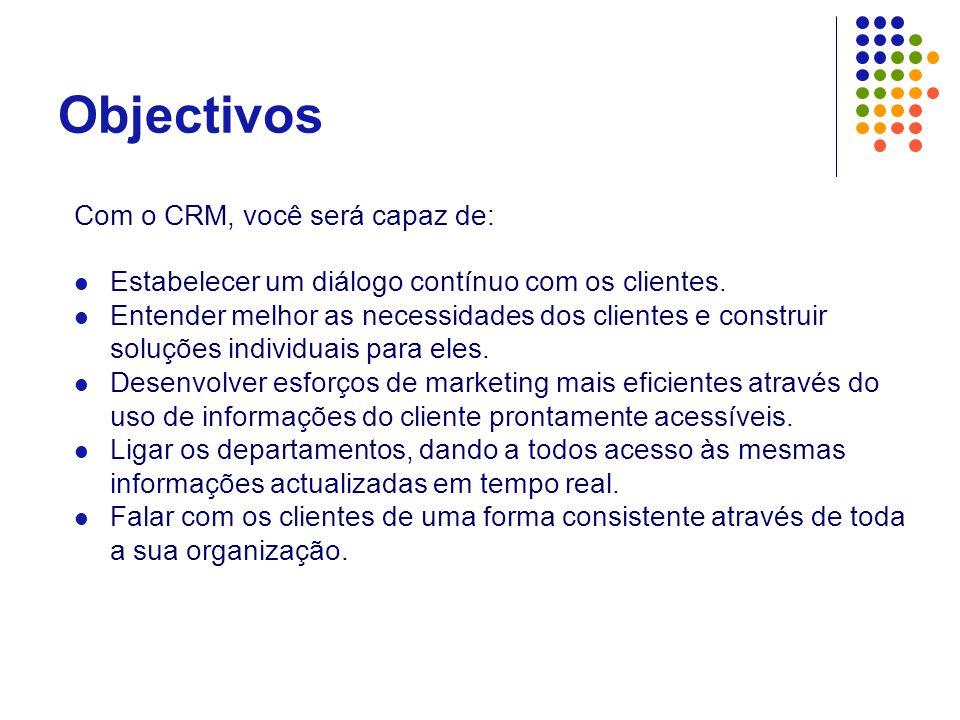 Objectivos Com o CRM, você será capaz de:  Estabelecer um diálogo contínuo com os clientes.  Entender melhor as necessidades dos clientes e construi
