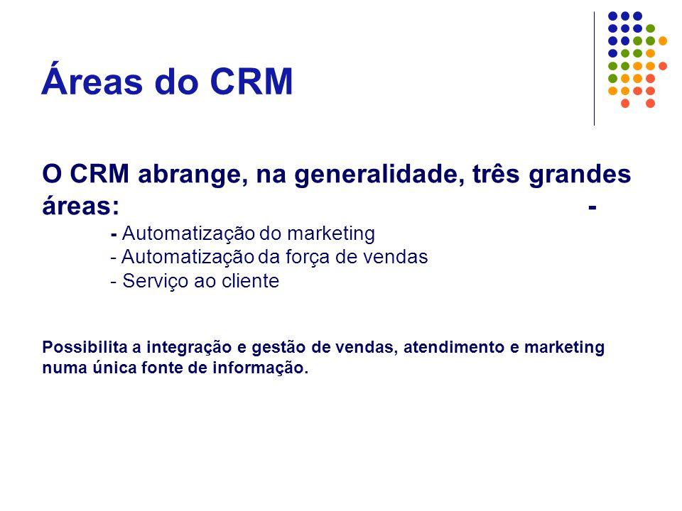 Áreas do CRM O CRM abrange, na generalidade, três grandes áreas:- - Automatização do marketing - Automatização da força de vendas - Serviço ao cliente