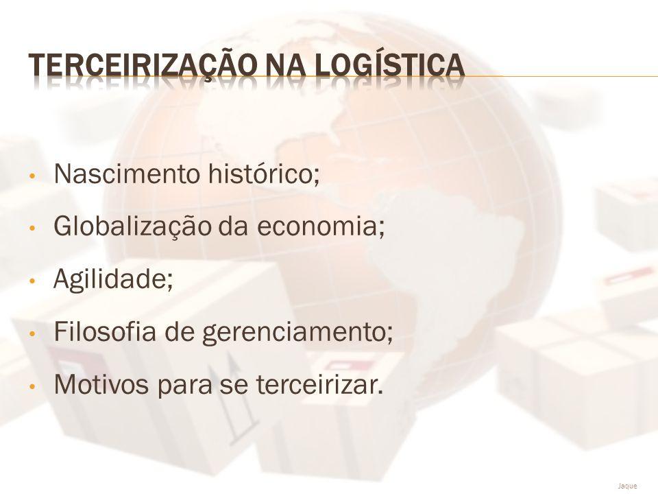 • Nascimento histórico; • Globalização da economia; • Agilidade; • Filosofia de gerenciamento; • Motivos para se terceirizar. Jaque
