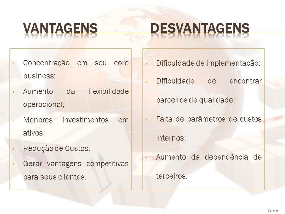 • Concentração em seu core business; • Aumento da flexibilidade operacional; • Menores investimentos em ativos; • Redução de Custos; • Gerar vantagens