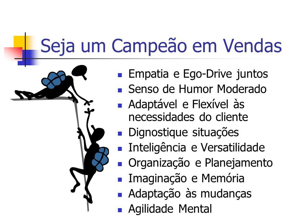 Seja um Campeão em Vendas  Empatia e Ego-Drive juntos  Senso de Humor Moderado  Adaptável e Flexível às necessidades do cliente  Dignostique situa
