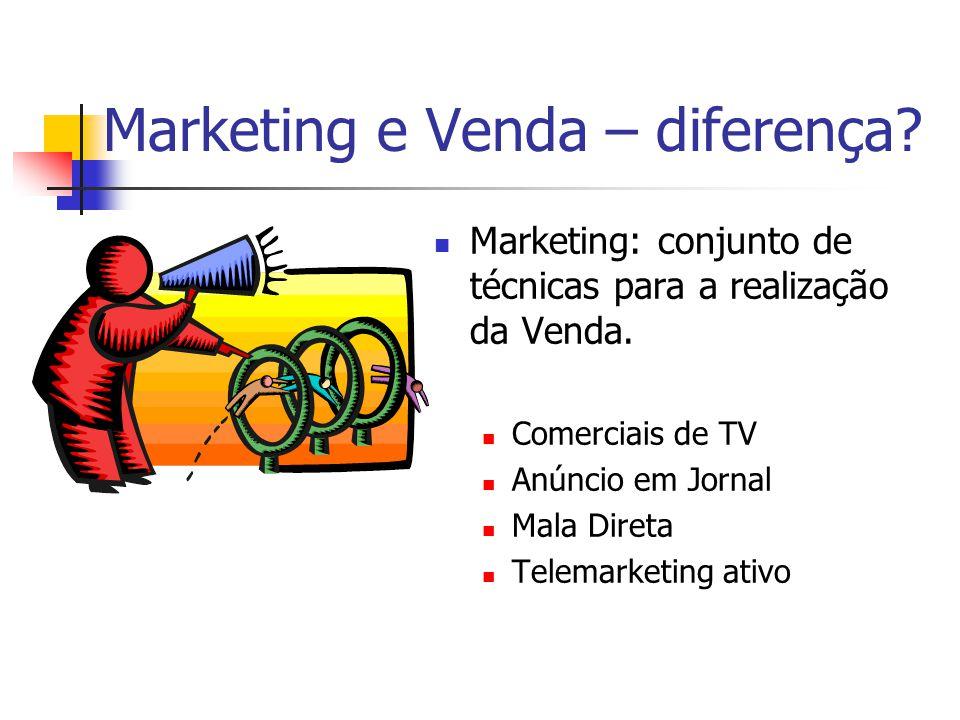 Marketing e Venda – diferença?  Marketing: conjunto de técnicas para a realização da Venda.  Comerciais de TV  Anúncio em Jornal  Mala Direta  Te