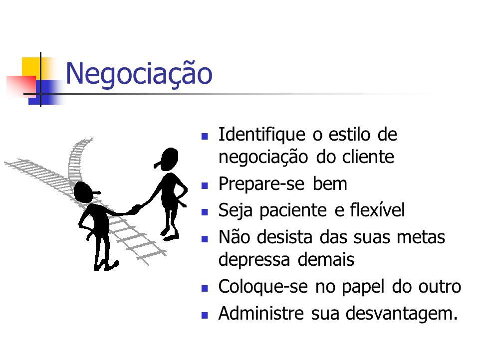 Negociação  Identifique o estilo de negociação do cliente  Prepare-se bem  Seja paciente e flexível  Não desista das suas metas depressa demais 