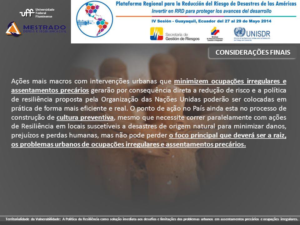 CONSIDERAÇÕES FINAIS Ações mais macros com intervenções urbanas que minimizem ocupações irregulares e assentamentos precários gerarão por consequência