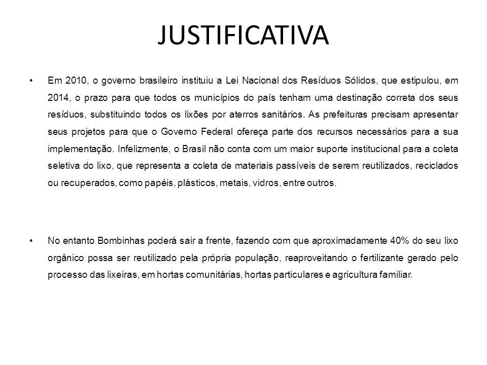 JUSTIFICATIVA •Em 2010, o governo brasileiro instituiu a Lei Nacional dos Resíduos Sólidos, que estipulou, em 2014, o prazo para que todos os municípi