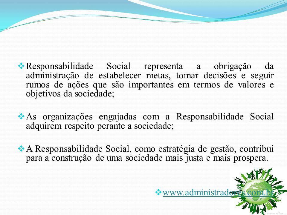  Responsabilidade Social representa a obrigação da administração de estabelecer metas, tomar decisões e seguir rumos de ações que são importantes em