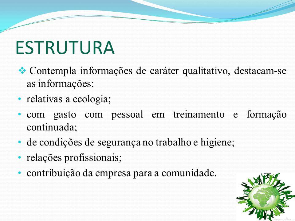 ESTRUTURA  Contempla informações de caráter qualitativo, destacam-se as informações: • relativas a ecologia; • com gasto com pessoal em treinamento e