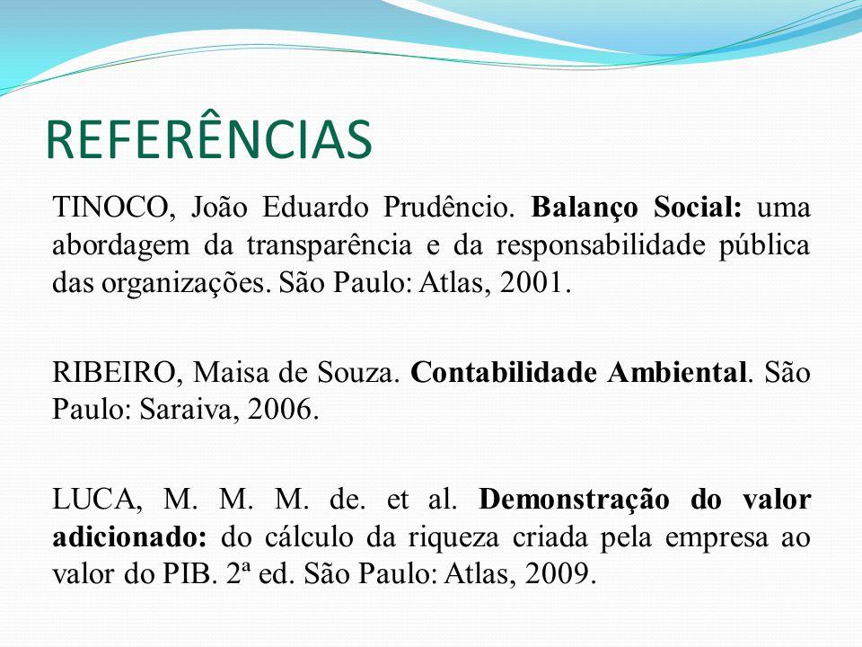 REFERÊNCIAS TINOCO, João Eduardo Prudêncio. Balanço Social: uma abordagem da transparência e da responsabilidade pública das organizações. São Paulo: