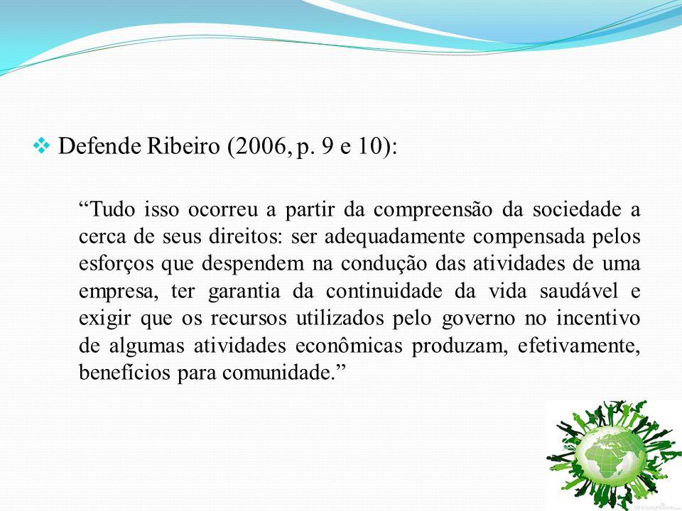 """ Defende Ribeiro (2006, p. 9 e 10): """"Tudo isso ocorreu a partir da compreensão da sociedade a cerca de seus direitos: ser adequadamente compensada pe"""
