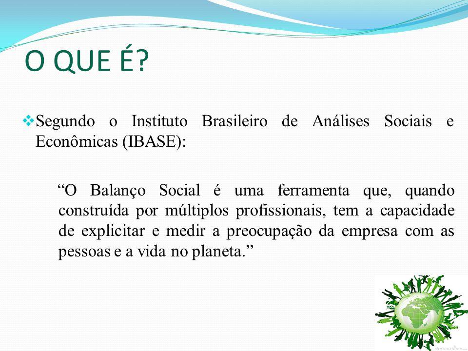 """O QUE É?  Segundo o Instituto Brasileiro de Análises Sociais e Econômicas (IBASE): """"O Balanço Social é uma ferramenta que, quando construída por múlt"""