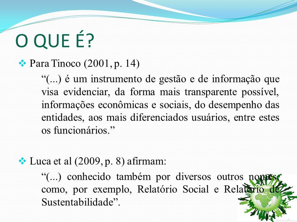 """O QUE É?  Para Tinoco (2001, p. 14) """"(...) é um instrumento de gestão e de informação que visa evidenciar, da forma mais transparente possível, infor"""