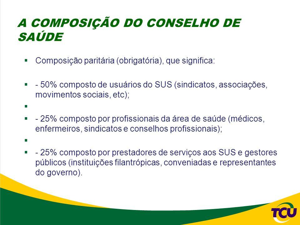  Composição paritária (obrigatória), que significa:  - 50% composto de usuários do SUS (sindicatos, associações, movimentos sociais, etc);   - 25%