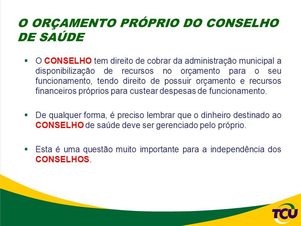  O CONSELHO tem direito de cobrar da administração municipal a disponibilização de recursos no orçamento para o seu funcionamento, tendo direito de p