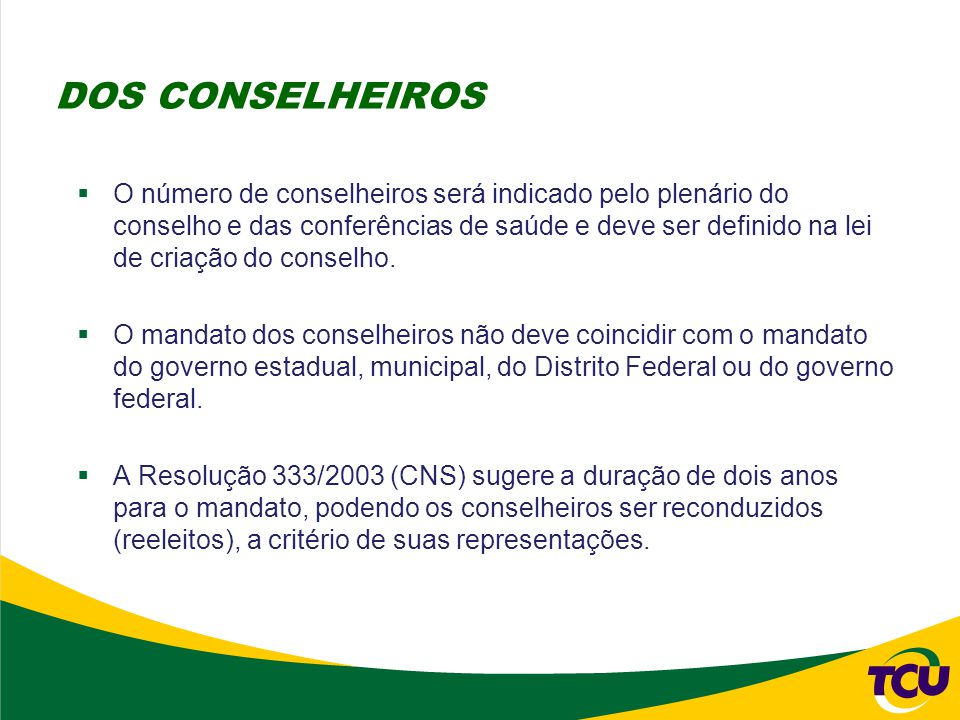  O número de conselheiros será indicado pelo plenário do conselho e das conferências de saúde e deve ser definido na lei de criação do conselho.  O