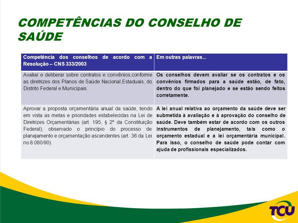 Competência dos conselhos de acordo com a Resolução – CNS 333/2003 Em outras palavras... Avaliar e deliberar sobre contratos e convênios,conforme as d