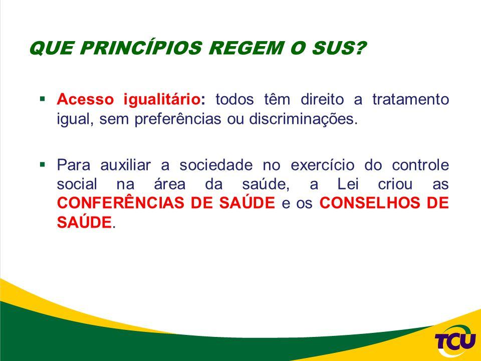  Acesso igualitário: todos têm direito a tratamento igual, sem preferências ou discriminações.  Para auxiliar a sociedade no exercício do controle s