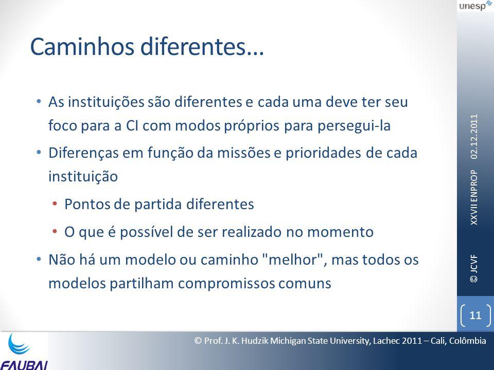 © JCVF Caminhos diferentes... • As instituições são diferentes e cada uma deve ter seu foco para a CI com modos próprios para persegui-la • Diferenças