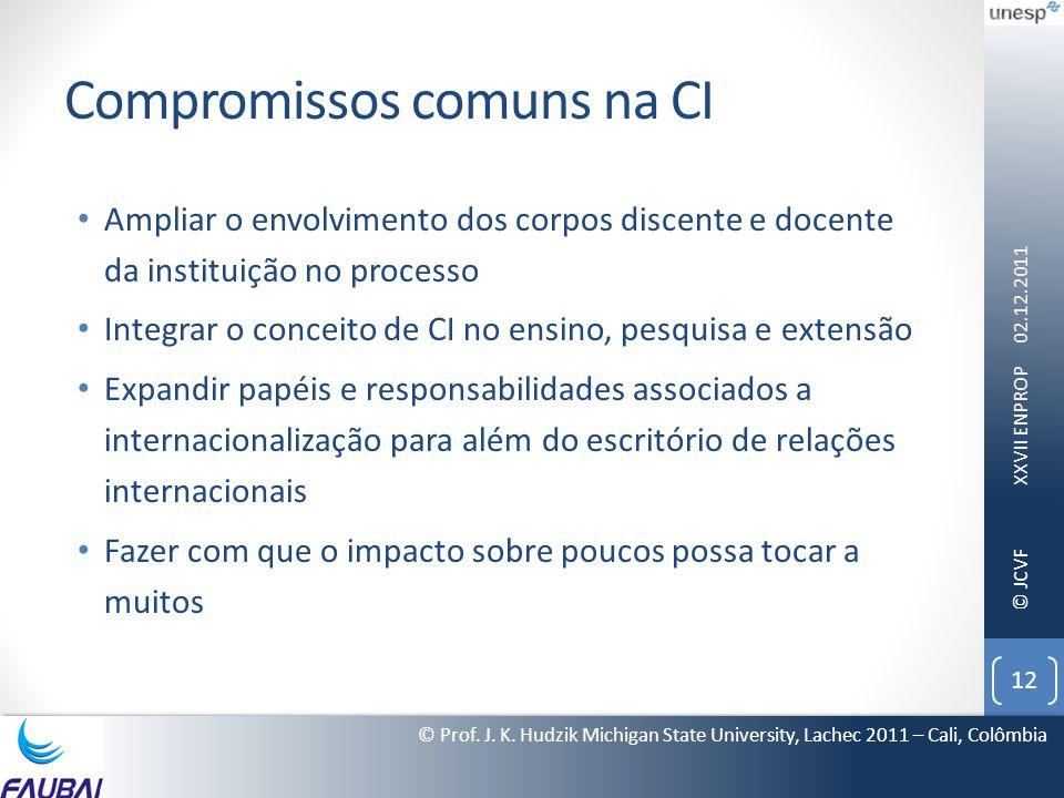 © JCVF Compromissos comuns na CI • Ampliar o envolvimento dos corpos discente e docente da instituição no processo • Integrar o conceito de CI no ensi