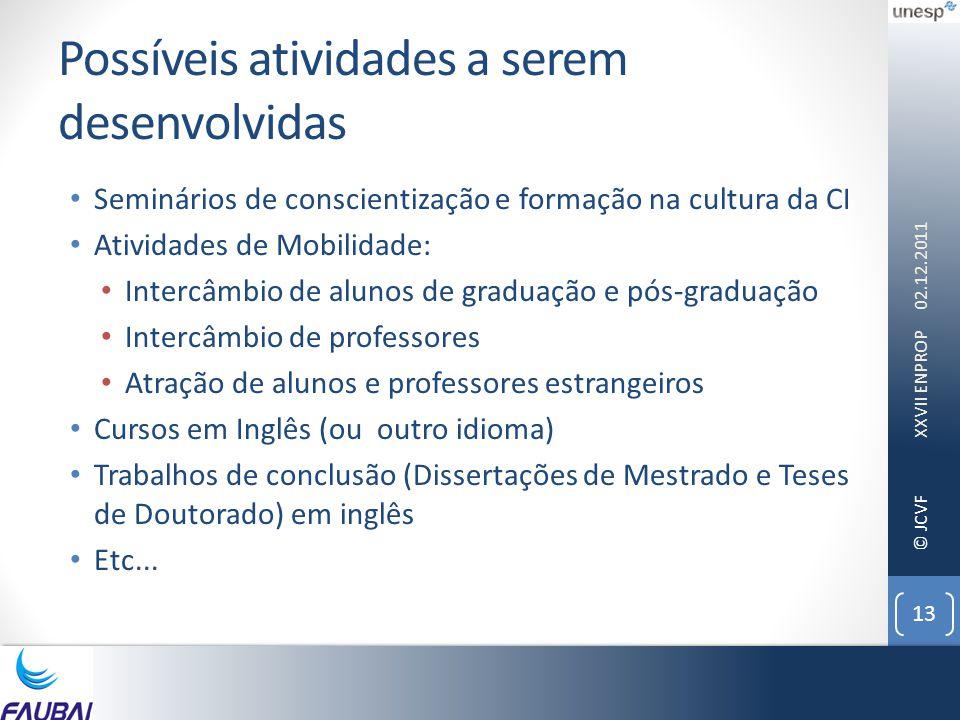 © JCVF Possíveis atividades a serem desenvolvidas • Seminários de conscientização e formação na cultura da CI • Atividades de Mobilidade: • Intercâmbi