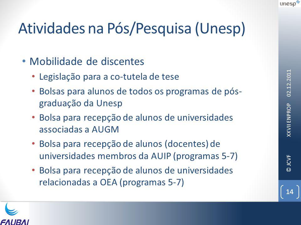 © JCVF Atividades na Pós/Pesquisa (Unesp) • Mobilidade de discentes • Legislação para a co-tutela de tese • Bolsas para alunos de todos os programas de pós- graduação da Unesp • Bolsa para recepção de alunos de universidades associadas a AUGM • Bolsa para recepção de alunos (docentes) de universidades membros da AUIP (programas 5-7) • Bolsa para recepção de alunos de universidades relacionadas a OEA (programas 5-7) 02.12.2011 XXVII ENPROP 14
