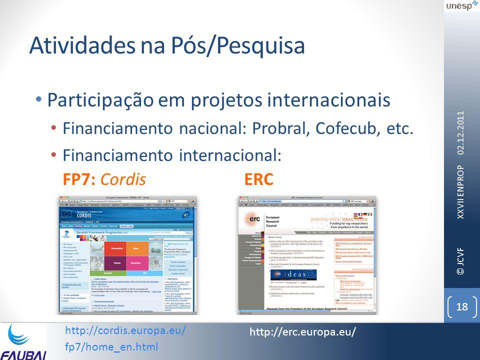 © JCVF Atividades na Pós/Pesquisa • Participação em projetos internacionais • Financiamento nacional: Probral, Cofecub, etc. • Financiamento internaci