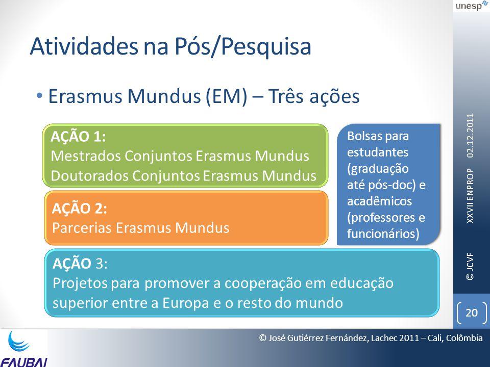 © JCVF Atividades na Pós/Pesquisa • Erasmus Mundus (EM) – Três ações 02.12.2011 XXVII ENPROP 20 © José Gutiérrez Fernández, Lachec 2011 – Cali, Colômb