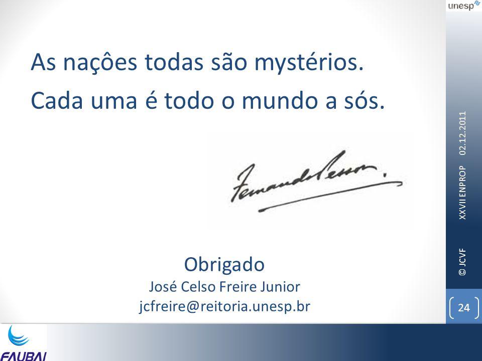 © JCVF 02.12.2011 XXVII ENPROP 24 As naçôes todas são mystérios. Cada uma é todo o mundo a sós. Obrigado José Celso Freire Junior jcfreire@reitoria.un