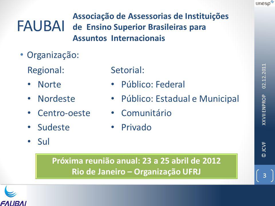 © JCVF FAUBAI • Organização: 02.12.2011 XXVII ENPROP 3 Associação de Assessorias de Instituições de Ensino Superior Brasileiras para Assuntos Internac