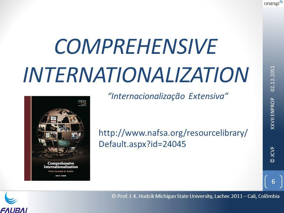 © JCVF COMPREHENSIVE INTERNATIONALIZATION 02.12.2011 XXVII ENPROP 6 © Prof. J. K. Hudzik Michigan State University, Lachec 2011 – Cali, Colômbia http: