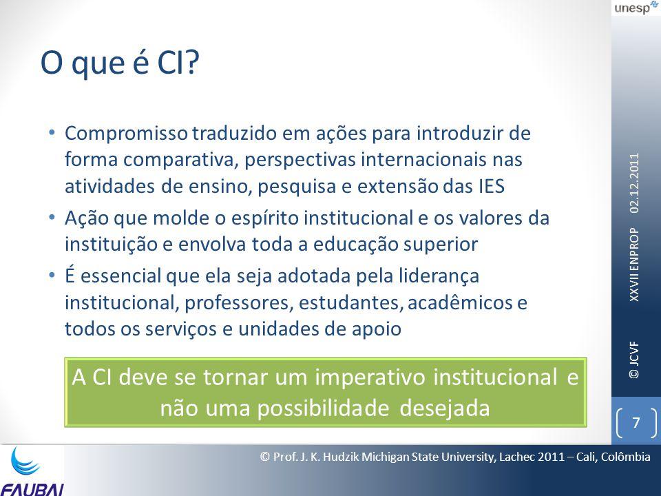 © JCVF O que é CI? • Compromisso traduzido em ações para introduzir de forma comparativa, perspectivas internacionais nas atividades de ensino, pesqui