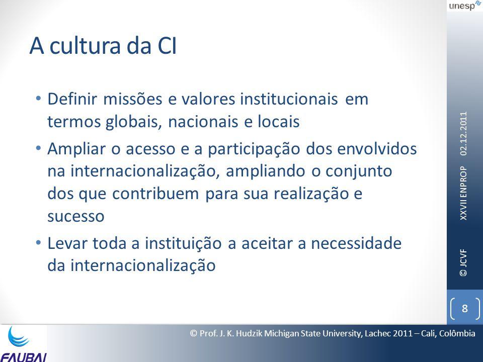 © JCVF A cultura da CI • Definir missões e valores institucionais em termos globais, nacionais e locais • Ampliar o acesso e a participação dos envolv