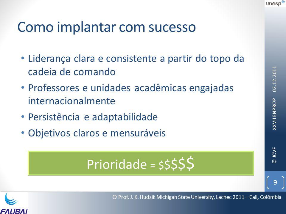© JCVF Como implantar com sucesso • Liderança clara e consistente a partir do topo da cadeia de comando • Professores e unidades acadêmicas engajadas