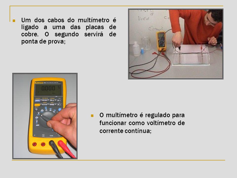  Um dos cabos do multímetro é ligado a uma das placas de cobre. O segundo servirá de ponta de prova;  O multímetro é regulado para funcionar como vo