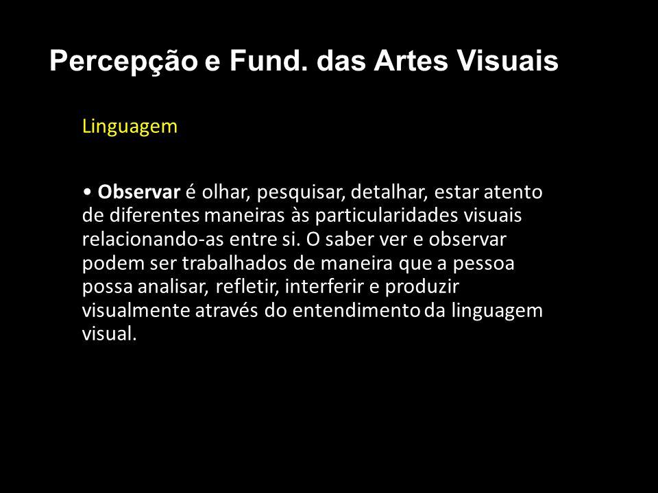 Linguagem • Observar é olhar, pesquisar, detalhar, estar atento de diferentes maneiras às particularidades visuais relacionando-as entre si.