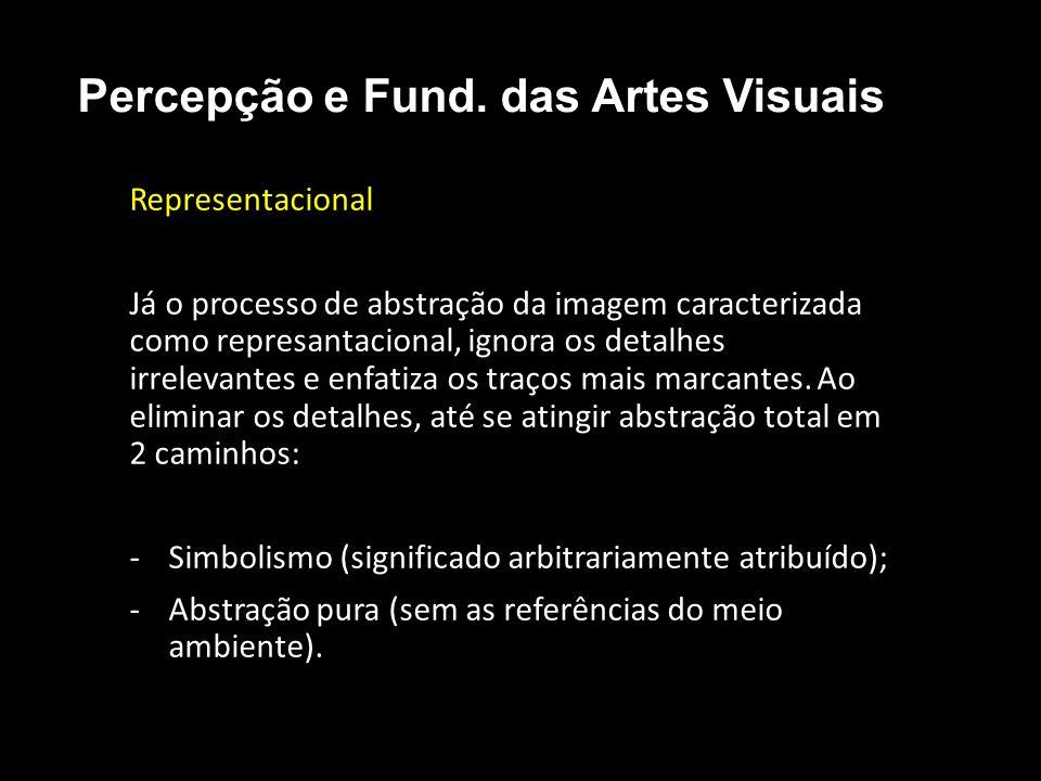 Representacional Já o processo de abstração da imagem caracterizada como represantacional, ignora os detalhes irrelevantes e enfatiza os traços mais marcantes.