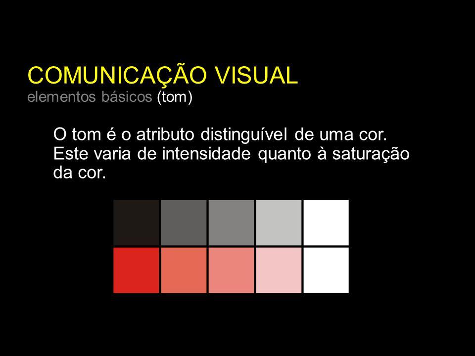 COMUNICAÇÃO VISUAL elementos básicos (tom) O tom é o atributo distinguível de uma cor.