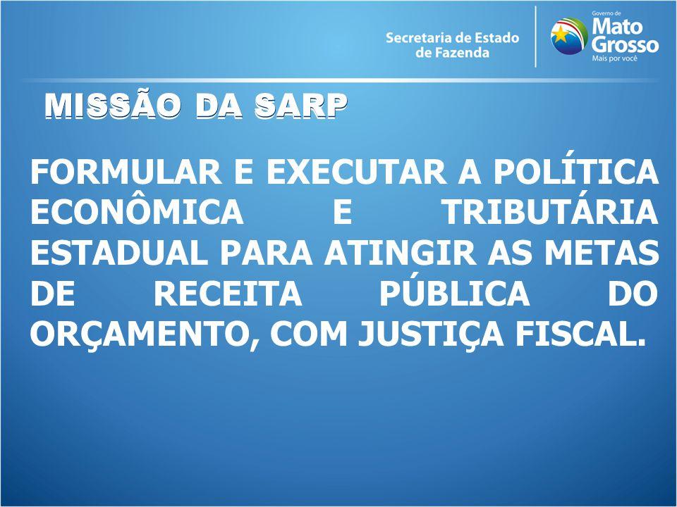 MISSÃO DA SARP FORMULAR E EXECUTAR A POLÍTICA ECONÔMICA E TRIBUTÁRIA ESTADUAL PARA ATINGIR AS METAS DE RECEITA PÚBLICA DO ORÇAMENTO, COM JUSTIÇA FISCAL.