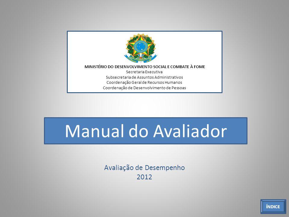 Avaliação de Desempenho 2012 MINISTÉRIO DO DESENVOLVIMENTO SOCIAL E COMBATE À FOME Secretaria Executiva Subsecretaria de Assuntos Administrativos Coor