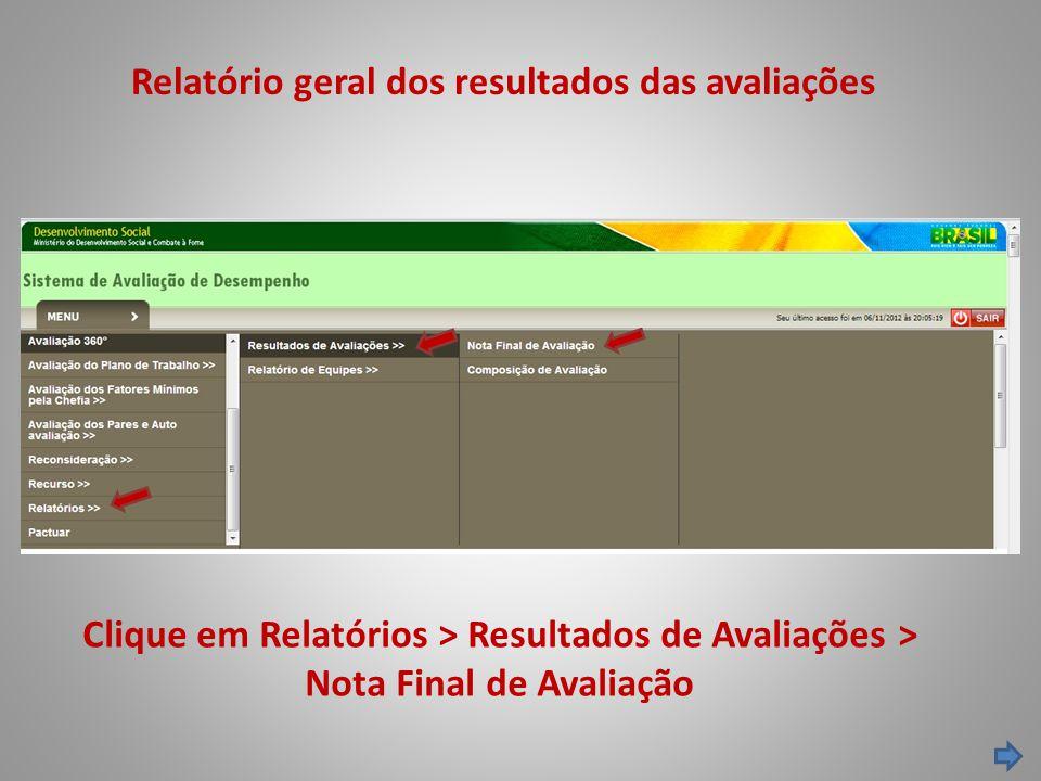 Relatório geral dos resultados das avaliações Clique em Relatórios > Resultados de Avaliações > Nota Final de Avaliação