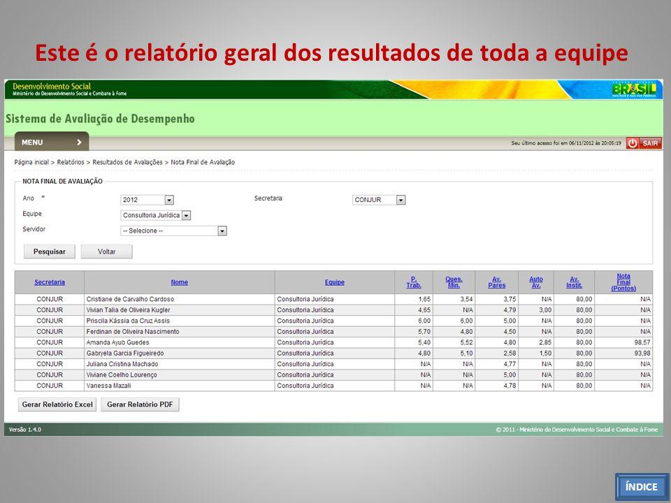 Este é o relatório geral dos resultados de toda a equipe ÍNDICE