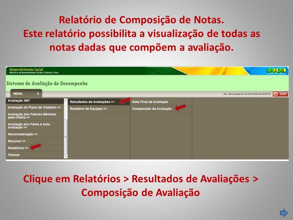Relatório de Composição de Notas. Este relatório possibilita a visualização de todas as notas dadas que compõem a avaliação. Clique em Relatórios > Re