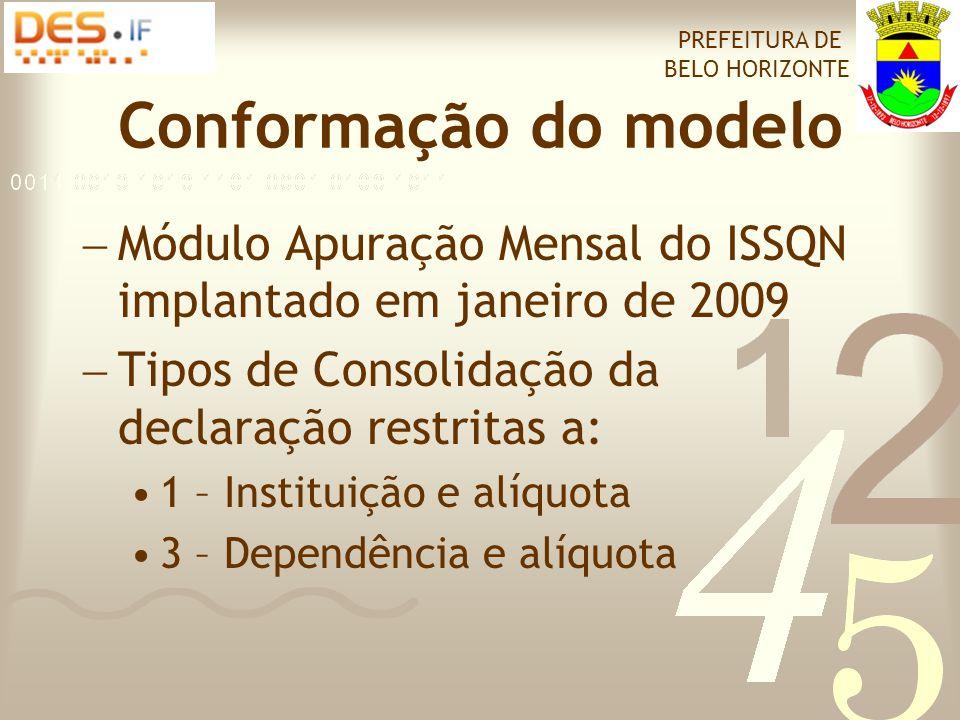 Conformação do modelo  Módulo Apuração Mensal do ISSQN implantado em janeiro de 2009  Tipos de Consolidação da declaração restritas a: •1 – Instituição e alíquota •3 – Dependência e alíquota PREFEITURA DE BELO HORIZONTE